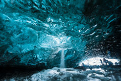 Ice Cave in Vatnajokull, South Iceland. Blue ice cave in wintertime of South Iceland Stock Photo
