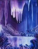 Ice Cavern. Abstract encaustic painting of mysterious ice cavern Stock Photography