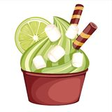 Soft pistachio or mint ice cream in a chocolate Cup. vector illustration
