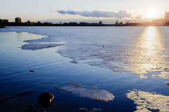 Ice on the Charles River, Boston. Disintigrating ice sheets on the Charles in March, Boston Stock Photo
