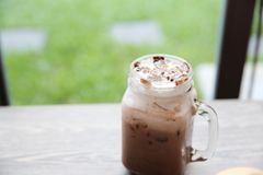 Iced chocolate. In close up royalty free stock image