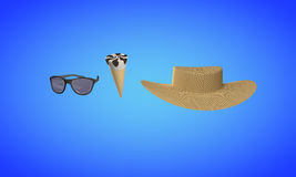 Ice chocolate cream and Straw hat, sunglasses 3d render Stock Photo