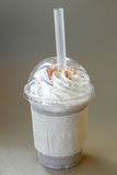 Ice chocolate frappe and whipped cream in the takeaway plastic cup Stock Photography