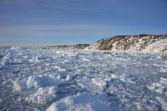 Ice choked bay in West Greenland Stock Photo