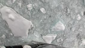Ice chopping movement icebreaker view from bow of ship in ocean of Antarctica. stock footage