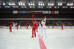 Ice choreography on closing ceremony of the championship Royalty Free Stock Images