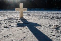 Ice christian cross Royalty Free Stock Image