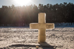 Ice christian cross Stock Photo