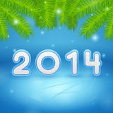 2014 Ice and Christmas tree branch background. Illustration stock illustration