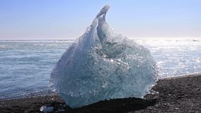 Ice chunk from the Jokulsarlon glacial lagoon stock video
