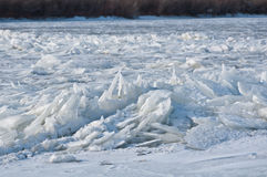 Ice chunks piled up on the river Royalty Free Stock Photography