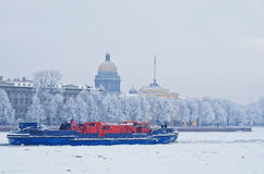 Ice-class tugboat  on Neva river in St. Petersburg, Russia Royalty Free Stock Photo