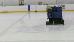 An ice cleaning machine, zamboni, cleaning Ice Land ice rink in Taipei stock video footage