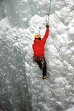 Ice Climber. An Ice Climber going up a frozen waterfall Royalty Free Stock Photo