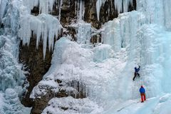 Ice Climbers on the frozen waterfalls in Johnston Canyon, Banff Stock Photography