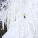Ice climbing. At the by the waterfall Montmorency near Quebec City, Canada Stock Photo