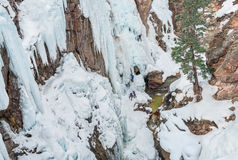 Ice Climbing Cliffs. Steep, ice-covered canyon walls invite winter climbers in southwest Colorado Royalty Free Stock Photos