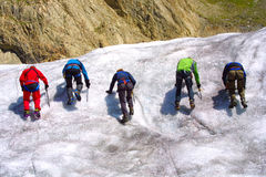Ice climbing group. On the mountains Royalty Free Stock Image