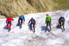 Ice climbing group. On the mountains Royalty Free Stock Photos
