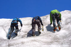 Ice climbing group. On the mountains Stock Photos