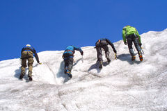Ice climbing group. On the mountains Royalty Free Stock Photo