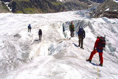 Ice climbing group. On the mountains Royalty Free Stock Images