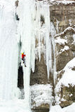 Ice climbing. royalty free stock photography