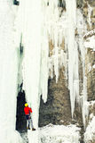 Ice climbing. Royalty Free Stock Image