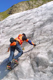 Ice climbing men. On the mountains Royalty Free Stock Images