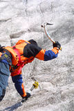 Ice climbing men. On the mountains Stock Image