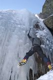 Ice climbing sport. Ice climbing in a wall of water in Portugal Stock Photos
