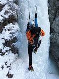 Ice climbing in Sucha Bela gorge , Slovensky raj National park , Slovakia Stock Photography