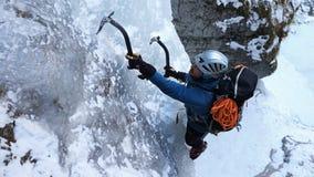 Ice climbing in Sucha Bela gorge , Slovensky raj National park , Slovakia Royalty Free Stock Image