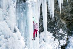 Ice climbing the waterfall. Royalty Free Stock Image