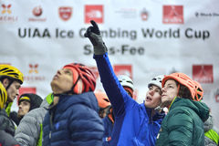 Ice Climbing World Championship Saas Fee 2015. Switzerland 3th stage of the UIAA Ice Climbing World Cup - lead and speed Stock Photography