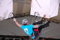 Ice climbing at XXII Winter Olympic Games Sochi Royalty Free Stock Photo
