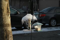 Ice coated bird feeders in a yard. After a freezing rain storm royalty free stock photos