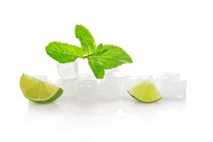 Ice for cocktail, lime slices and spearmint Royalty Free Stock Photo
