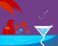 Ice cocktail, night water pool and palm trees. Ice cocktail, palms, night town and water pool. Stylized  illustration in retro style Royalty Free Stock Photos