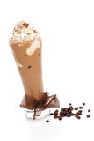 Ice coffe. Ice coffee with cream and coffee beans on white background. Refreshing summer drink Stock Photography
