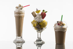 Ice coffe and ice coffee take-away, and Neapolitan cup decorated Royalty Free Stock Photo