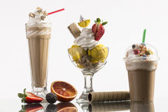 Ice coffe and ice coffee take-away, and Neapolitan cup decorated Royalty Free Stock Photos