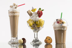 Ice coffe and ice coffee take-away, and Neapolitan cup decorated Royalty Free Stock Image