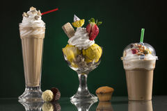 Ice coffe and ice coffee take-away, and Neapolitan cup decorated Stock Photos