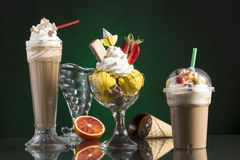 Ice coffe and ice coffee take-away, and Neapolitan cup decorated Stock Photography