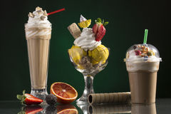 Ice coffe and ice coffee take-away, and Neapolitan cup decorated Stock Image