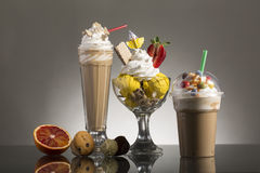 Ice coffe and ice coffee take-away, and Neapolitan cup decorated Stock Photo