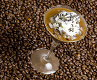 Ice coffee. Glass of ice coffee with whipped cream Stock Photos