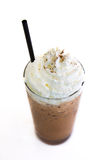 Ice coffee. Ice Mocca with whip cream  on white background Royalty Free Stock Photos