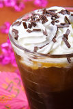 Ice coffee. Glass of ice coffee with creem and chocolate Stock Images